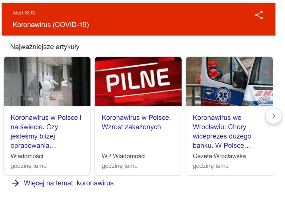 jak Polacy szukają informacji o koronawirusie w Google