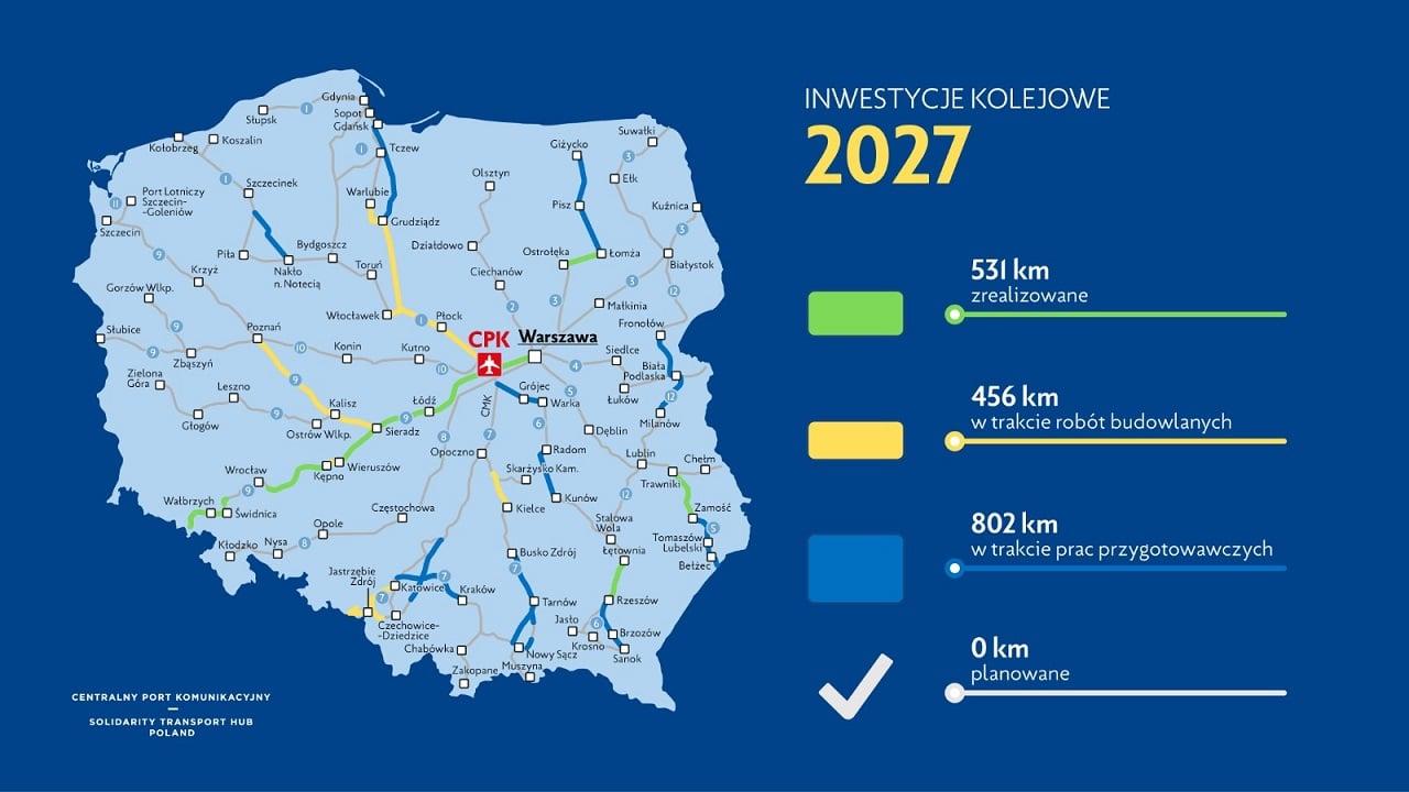 2027 planowane uruchomienie linii dużych prędkości przez Łódź. GrafikaCPK1