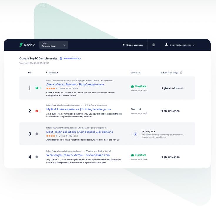 Sentinic – narzędzie do monitorowania wyników Google