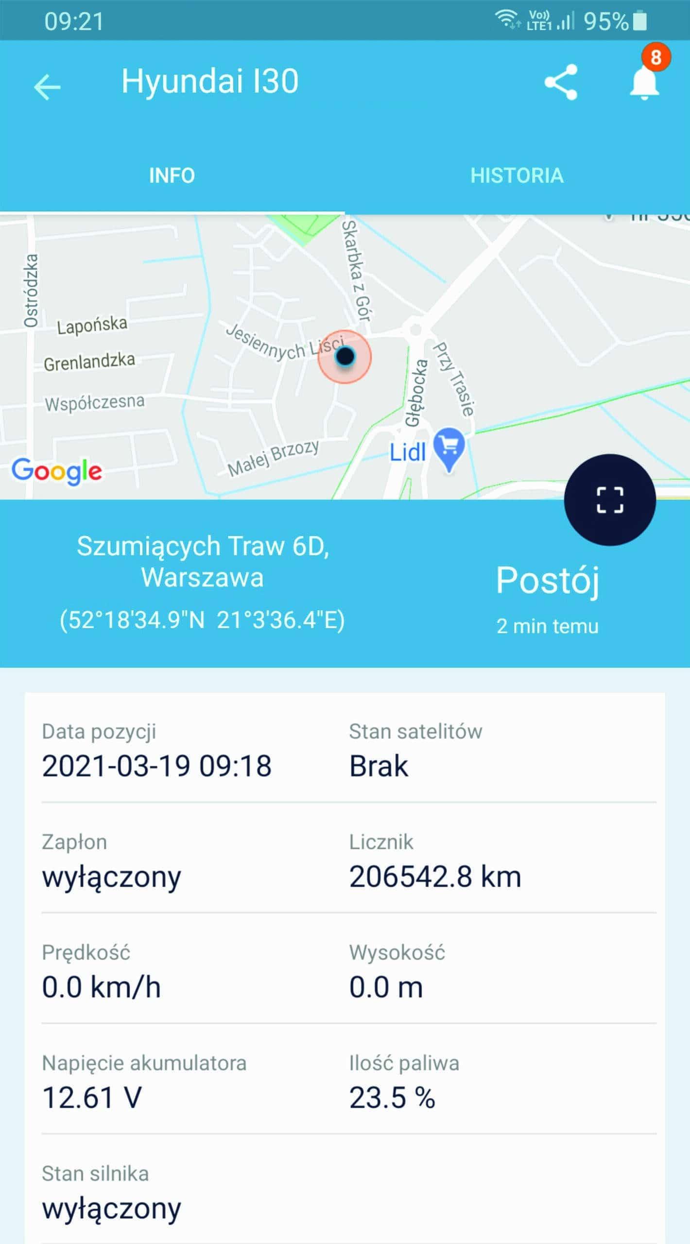Screenshot IKOL Tracker ilość paliwa