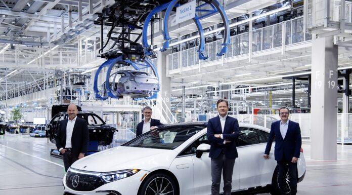 Erste Elektro-Limousine aus Mercedes-Benz Hightech-Produktion: Anlauf des EQS in der Factory 56 First electric saloon from Mercedes-Benz high-tech production facility: Start of production of the EQS at Factory 56