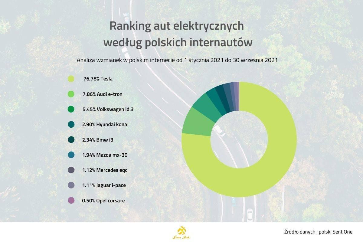Ranking aut elektrycznych według polskich internautów